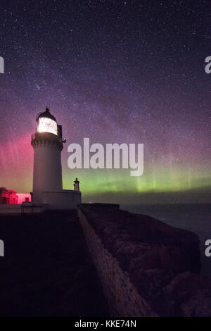 Noss Head Lighthouse.  Aurora over Scotland near Thurso and Wick, Caithness - Stock Photo