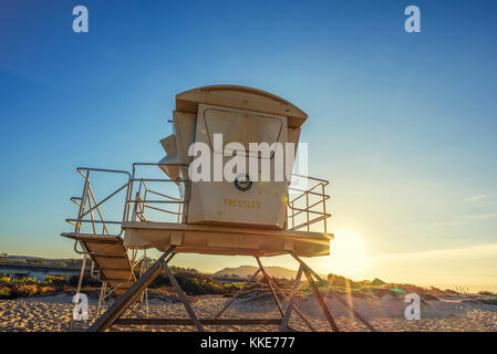 Lifeguard tower at San Onofre State Beach. San Clemente, California. - Stock Photo
