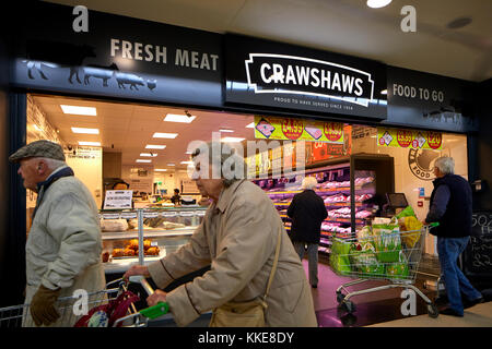 Burtonwood shopping centre in Warrington, Crawshaws butchers shop exterior - Stock Photo