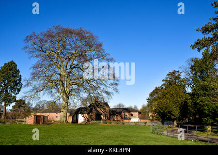 Extensive view of the working farm inside Shugborough Hall Estate, Staffordshire, England - Stock Photo
