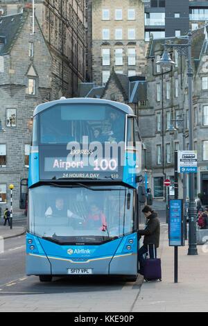 Airlink Edinburgh Airport 100 bus stop on Waverley Bridge, Edinburgh, Scotland, UK - Stock Photo