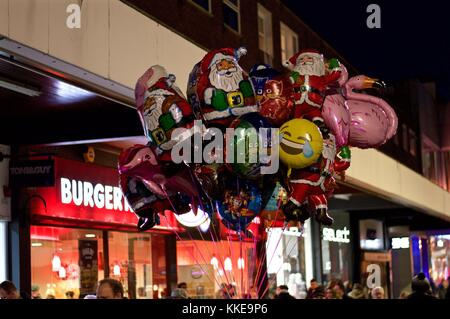 Selection of children's character balloons including Santa Claus, Hemel Hempstead Christmas lights switch on, 2017, - Stock Photo