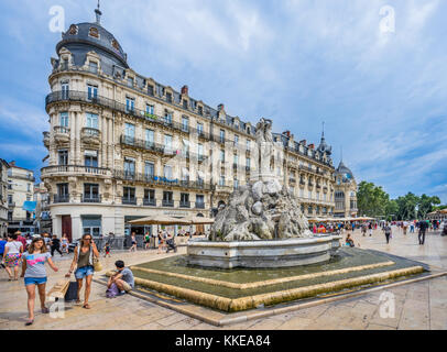 France, Hérault department, Montpellier, Three Graces Fountain at Place de la Comédie - Stock Photo