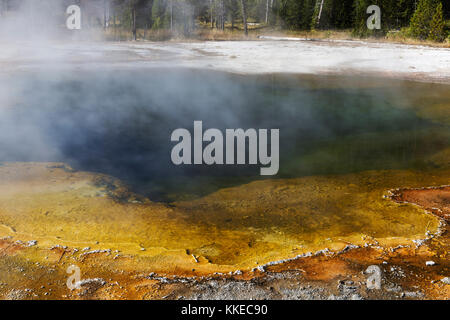 Emerald Pool Thermal Feature in Black Sand Geyser Basin, Yellowstone National Park - Stock Photo
