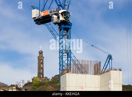 New Waverly construction site with Nelson Monument on Calton Hill in background. Edinburgh, Scotland - Stock Photo