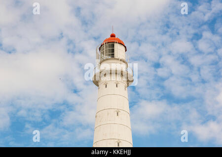 Tall and white Tahkuna lighthouse on Hiiumaa island, Estonia - Stock Photo