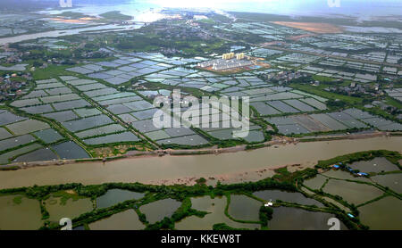 Nanning. 10th Aug, 2017. Aerial photo taken on Aug. 10, 2017 shows the scenery of Youlu Village in Shabu Township - Stock Photo