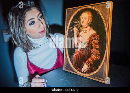 London, UK. 1st December, 2017. Lucas Cranach the Elder, LUCRETIA, est £400,000-600,000 - London Old Masters Evening - Stock Photo