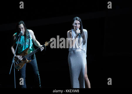 Moscow, Russia. 1st Dec, 2017. Russian singer Alsou (R) performs during the Final Draw of the FIFA World Cup 2018 at the Kremlin Palace in Moscow, capital of Russia, Dec. 1, 2017. Credit: Bai Xueqi/Xinhua/Alamy Live News Stock Photo