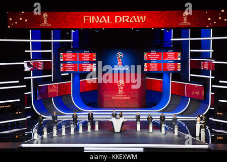Moscow, Russia. 1st Dec, 2017. The result of the draw is shown on the screen during the Final Draw of the FIFA World Cup 2018 at the Kremlin Palace in Moscow, capital of Russia, Dec. 1, 2017. Credit: Bai Xueqi/Xinhua/Alamy Live News Stock Photo