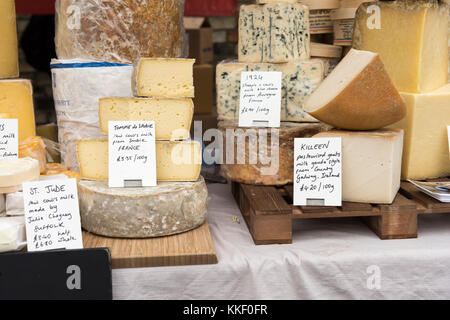 Mill Road Cambridge, UK. 2nd Dec, 2017. Cheese on sale at the annual Winter Fair which takes place in early December. - Stock Photo