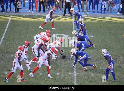 Carson, CA. 03rd Dec, 2017. Both teams before the snap during the NFL Cleveland Browns vs Los Angeles Chargers at the Stubhub Center in Carson, Ca on December 03, 2017. (Absolute Complete Photographer & Company Credit: Jevone Moore/Cal Sport Media (Network Television please contact your Sales Representative for Television usage. Credit: csm/Alamy Live News Stock Photo