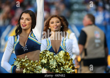 Carson, CA. 03rd Dec, 2017. Chargers Girls during the NFL Cleveland Browns vs Los Angeles Chargers at the Stubhub Center in Carson, Ca on December 03, 2017. (Absolute Complete Photographer & Company Credit: Jevone Moore/Cal Sport Media (Network Television please contact your Sales Representative for Television usage. Credit: csm/Alamy Live News Stock Photo