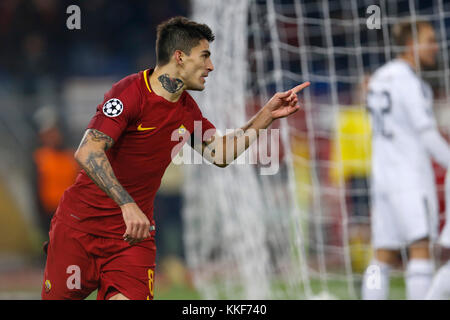 Rome, Italy. 05th Dec, 2017. Diego Perotti of Roma celebrates after scoring a goal against Qarabag during the UEFA - Stock Photo