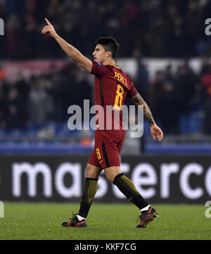 Rome, Italy. 5th Dec, 2017. Roma's Diego Perotti celebrates scoring during a UEFA Champions League group C soccer - Stock Photo