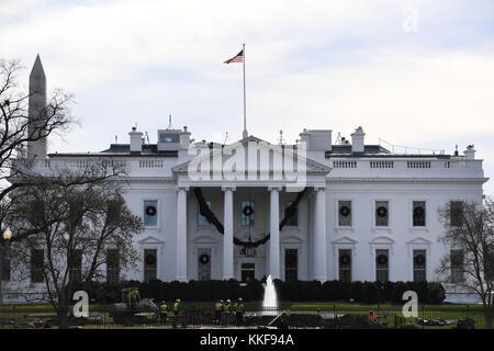 Washington, USA. 6th Dec, 2017. Photo taken on Dec. 6, 2017 shows the White House in Washington, DC, the Unite States. - Stock Photo