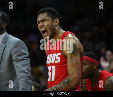 December 06, 2017: New Mexico's Troy Simons is fired up on the bench during the game against Colorado at the Coors - Stock Photo
