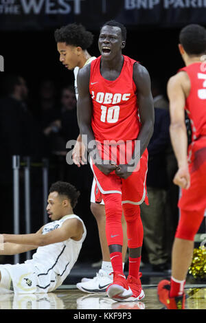 December 06, 2017: New Mexico's Makach Maluach celebrates his dunk against Colorado in the first half at the Coors - Stock Photo