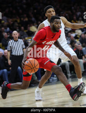 December 06, 2017: New Mexico's Jachai Simmons drives into the lane against Colorado in the second half at the Coors - Stock Photo