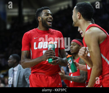 December 06, 2017: New Mexico's Jachai Simmons urges on his team against Colorado in the second half at the Coors - Stock Photo