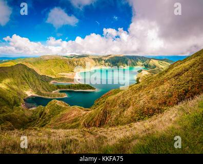 Beautiful panoramic view of Lagoa do Fogo lake in Sao Miguel Island, Azores, Portugal - Stock Photo