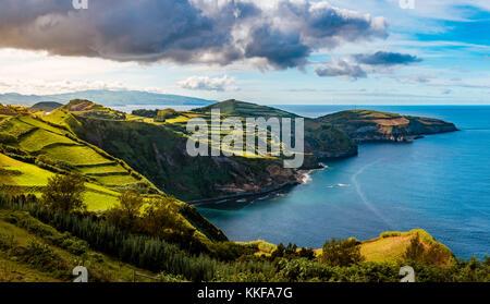 Beautiful panoramic view over Sao Miguel Island and Atlantic ocean from Miradouro De Santa Iria in Sao Miguel Island, - Stock Photo