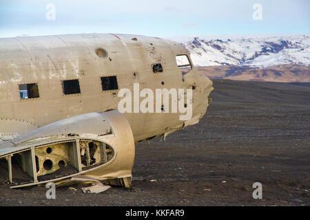 United States Navy Douglas Super DC-3 airplane wreck Iceland closeup - Stock Photo