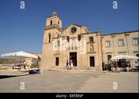 italy, basilicata, matera, church of san pietro caveoso - Stock Photo