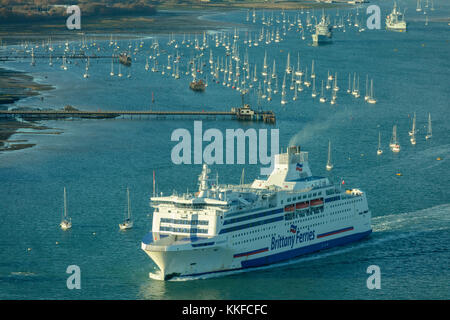 Brittany Ferries, Portsmouth Harbour, Portsmouth, Hampshire, England, United Kingdom, UK, Britain, November 2017 - Stock Photo