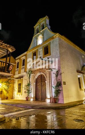 Night shot of a street scene in Cartagena de Indias, Colombia, South America - Stock Photo