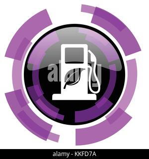 Biofuel pink violet modern design vector web and smartphone icon. Round button in eps 10 isolated on white background. - Stock Photo