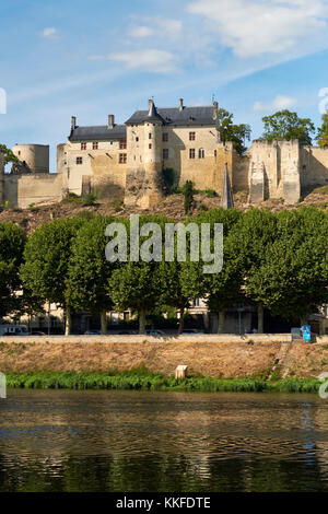 The historic UNESCO world heritage site of Chinon on the Vienne River in the Loire Valley, Indre et Loire, France. - Stock Photo