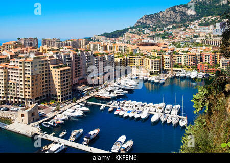 the port of fontvieille harbor in the principality of monaco - Stock Photo