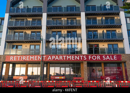 retirement apartments for sale in the coastal town of penzance, cornwall, england, uk. - Stock Photo
