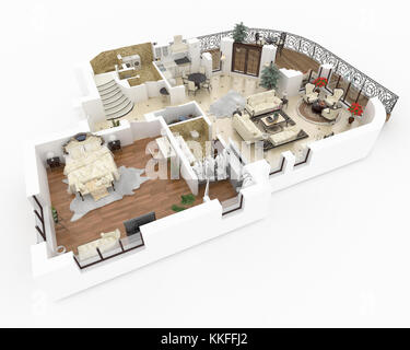 3d model of furnished home apartment - Stock Photo