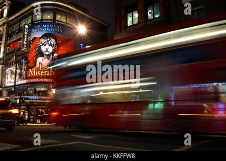 Les Miserables at the Queen's Theatre in London's West End (Shaftesbury Avenue) - Stock Photo