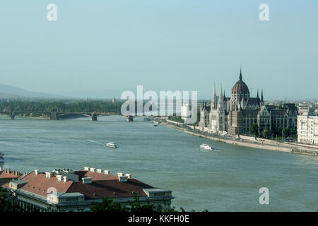Panorama of Budapest with the Hungarian Parliament seen from the Budapest castle, the Danube river being in front - Stock Photo