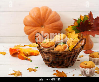 Appetizing and ruddy muffins with pumpkin and walnut. - Stock Photo