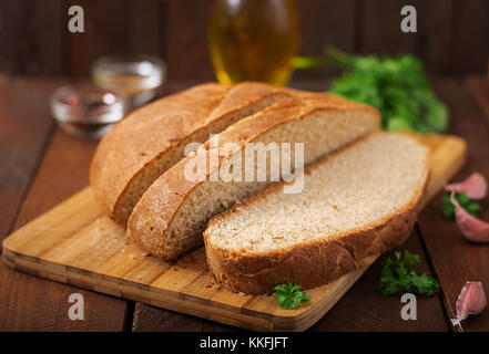 Homemade wholemeal bread sliced - Stock Photo