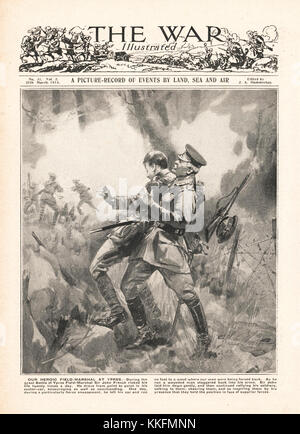 1915 War Illustrated Field Marshal Sir John French Rescues a Fellow Officer at Ypres - Stock Photo