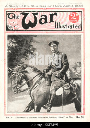 1916 War Illustrated General Christiaan Smuts in German East Africa - Stock Photo