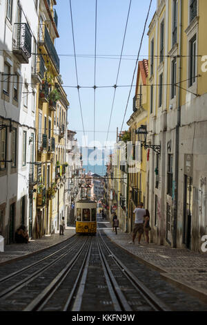Tram in the streets of Lisbon, Portugal - Stock Photo