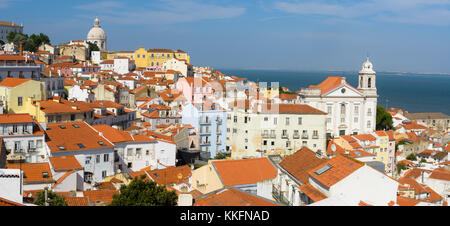 View across Alfama towards the dome of Igreja de Santa Engrácia, Lisbon, Portugal, Europe - Stock Photo