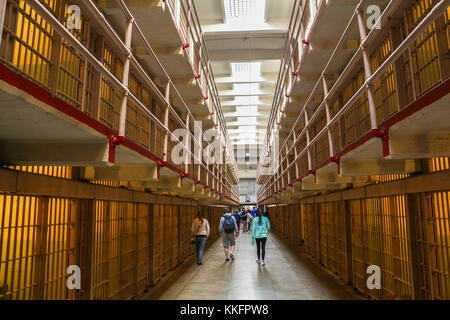 Inside the prison of Alcatraz in San Francisco - Stock Photo