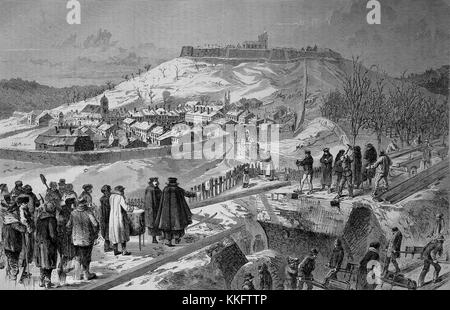 City and fortress of Montmedy on the day after the surrender, December 15, street scene, France, Franco-German War - Stock Photo