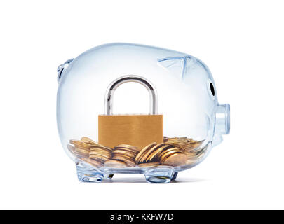 Padlock on money inside transparent piggy bank with clipping path - Stock Photo