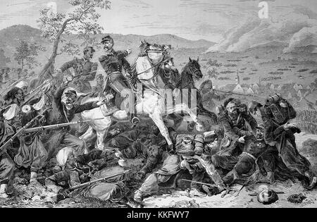 Patrice de Mac-Mahon on horseback in the Battle of Woerth, Franco-German War 1870/71, Franco-Prussian War or Franco - Stock Photo