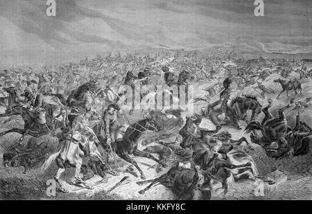 Prussian soldiers shoot at French riders, Prussian rapid fire on French cavalry at the Battle of Sedan around noon - Stock Photo