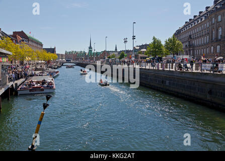 View along Slotsholmskanal in Copenhagen. Denmark. One of the canals encircling the area of Christiansborg Castle - Stock Photo