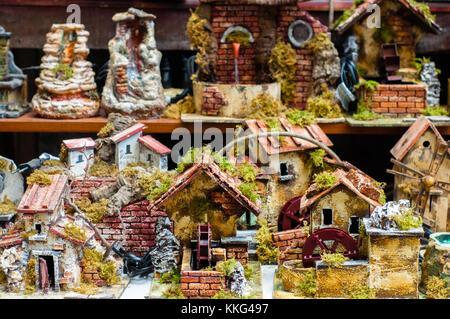Via San Gregorio Armeno in Naples: street of the nativity scene makers - Stock Photo